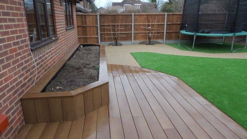 Artificial grass and decking shirley croydon artificial for Garden ideas with decking and grass